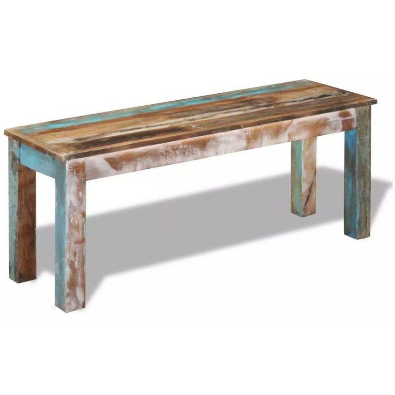 Banquette pouf tabouret meuble banc 110 cm bois de récupération massif Bois