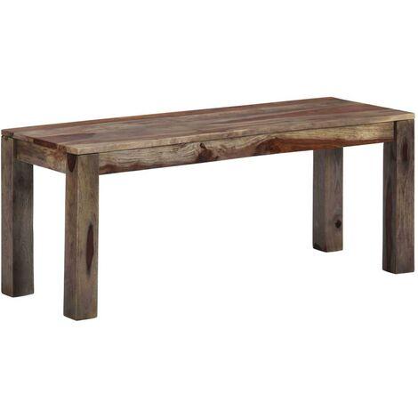 Banquette pouf tabouret meuble banc 110 cm gris bois de sesham massif - Bois