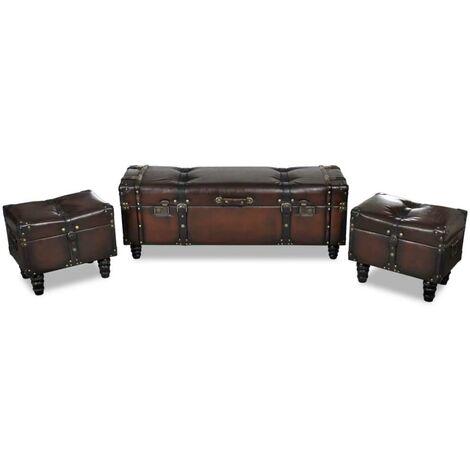 Banquette pouf tabouret meuble banc de rangement 3 pcs marron - Marron