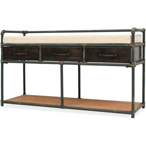 Banquette pouf tabouret meuble banc de rangement avec coussin 107 cm - Noir