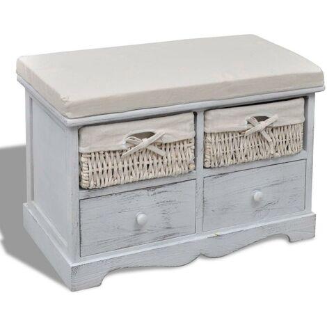 Banquette pouf tabouret meuble banc de rangement blanc en bois avec 2 paniers de tissage et 2 tiroirs - Blanc