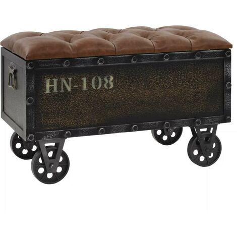 Banquette pouf tabouret meuble banc de rangement bois massif et cuir artificiel 80 cm - Noir