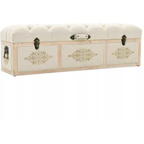 Banquette pouf tabouret meuble banc de rangement bois massif et tissu 120 cm - Noir