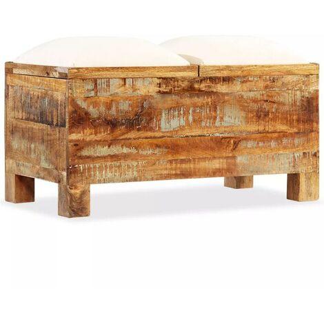 Banquette pouf tabouret meuble banc de rangement bois massif recyclé 80 cm - Noir