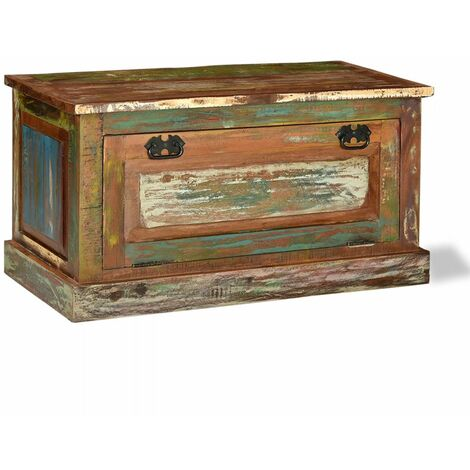Banquette pouf tabouret meuble banc de rangement de chaussures bois massif de récupération - Bois