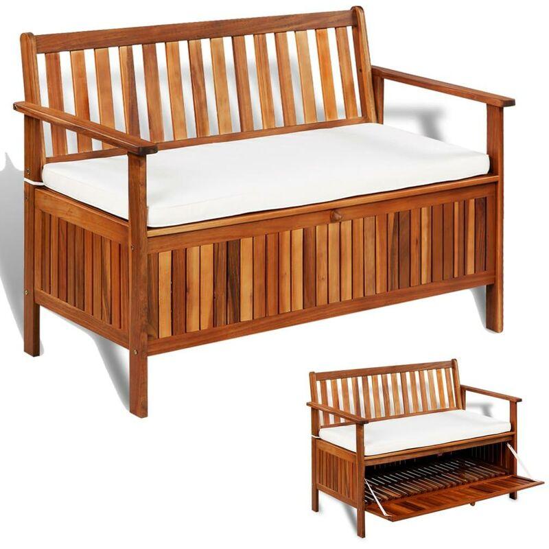 Banquette pouf tabouret meuble banc de rangement de jardin bois d'acacia solide 120 cm - Bois
