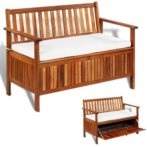Banquette pouf tabouret meuble banc de rangement de jardin bois d'acacia solide 120 cm - Noir