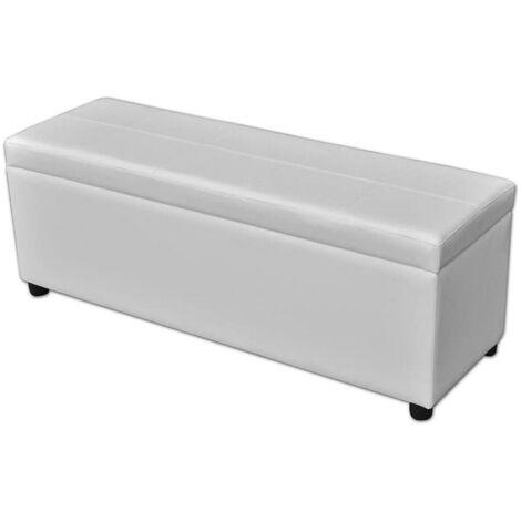 Banquette pouf tabouret meuble banc de rangement en bois blanc - Blanc