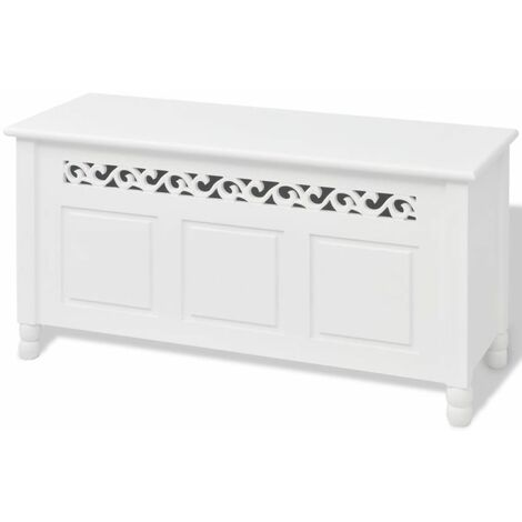 Banquette pouf tabouret meuble banc de rangement en style baroque blanc - Blanc