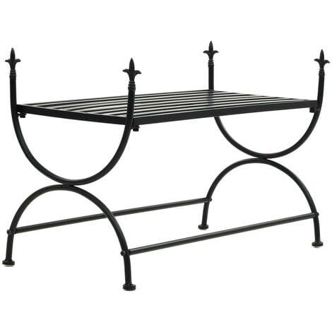 Banquette pouf tabouret meuble banc style vintage métal 83 cm noir - Métal