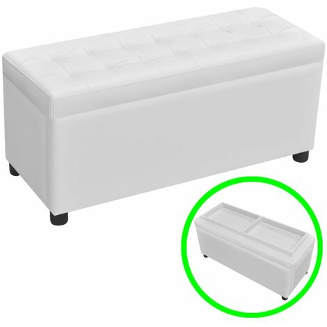 Banquette pouf tabouret meuble pouf de rangement cuir synthétique blanc - Blanc