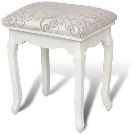 Banquette pouf tabouret meuble tabouret de coiffeuse blanc chaud - Blanc