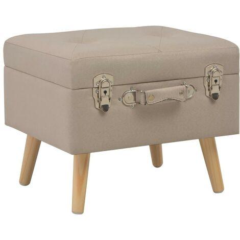 Banquette pouf tabouret meuble tabouret de rangement 40 cm beige tissu - Beige