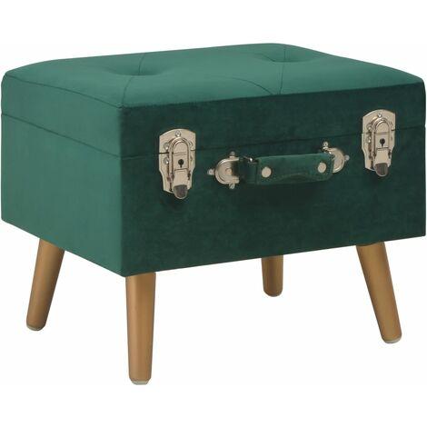 Banquette pouf tabouret meuble tabouret de rangement 40 cm vert velours - Vert
