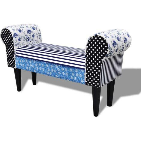 Banquette pouf tabouret meuble tabouret de style pastoral de couleurs bleu et blanc - Blanc