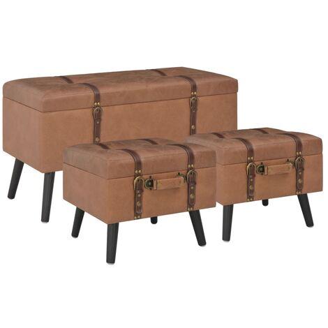 Banquette pouf tabouret meuble tabourets de rangement 3 pcs marron similicuir - Marron