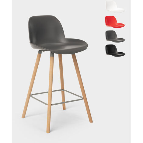 Bar and kitchen stool with backrest Nordic design and wooden legs BURJ 65