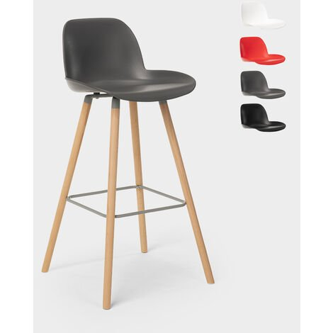 Bar and kitchen stool with backrest Nordic design and wooden legs BURJ 75