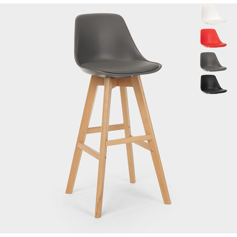 Bar and kitchen stool with cushion and legs with modern wood design WILLIS WOOD