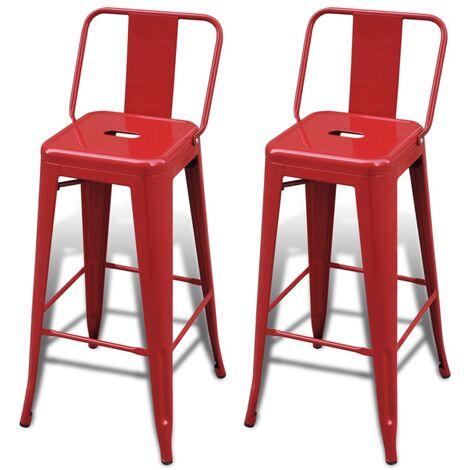 Bar Stools 2 pcs Steel Red