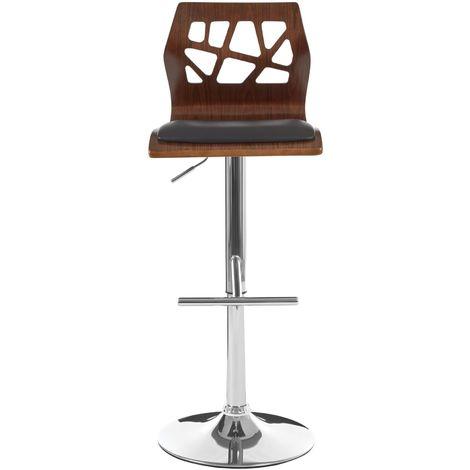 Bar Chair Walnut Wood Black Leather Effect - Adjustable Height/Footrest