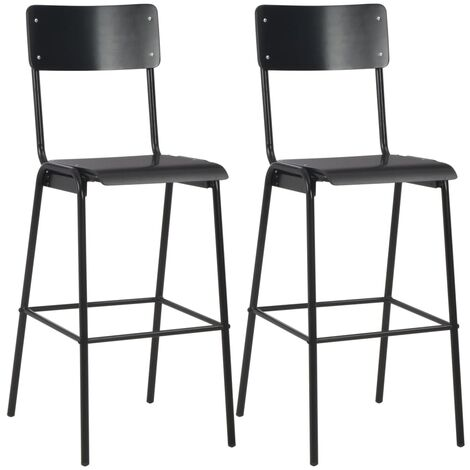 Bar Chairs 2 pcs Black Solid Plywood Steel