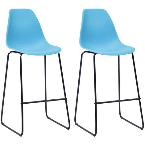 Bar Chairs 2 pcs Blue Plastic