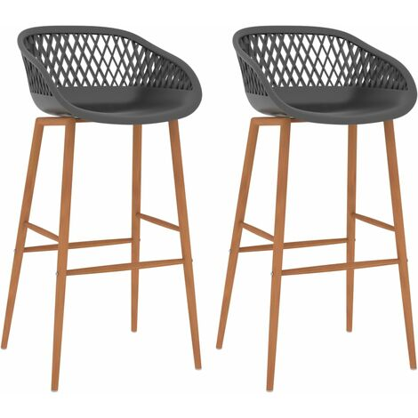 Bar Chairs 2 pcs Grey