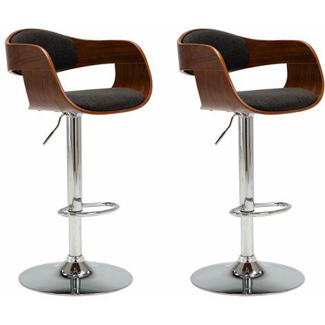 Bar Chairs 2 pcs Grey Bent Wood and Fabric