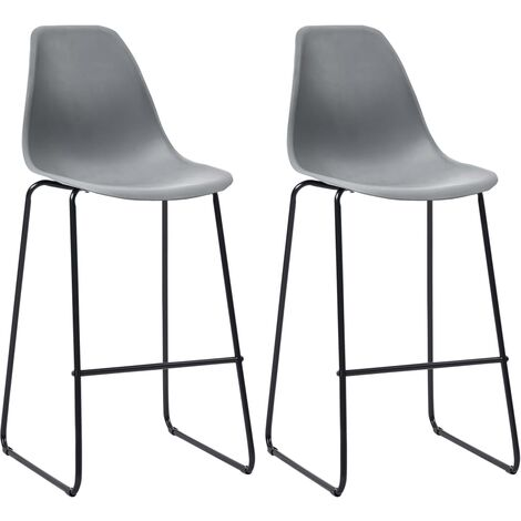 Bar Chairs 2 pcs Grey Plastic