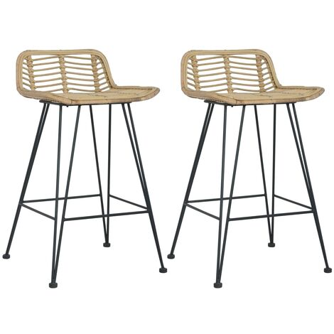 Bar Chairs 2 pcs Natural Rattan