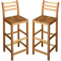 Bar Chairs 2 pcs Solid Acacia Wood 42x36x110 cm