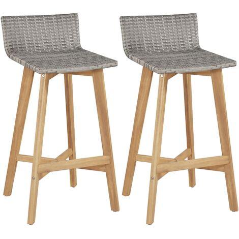 Bar Chairs 2 pcs Solid Acacia Wood