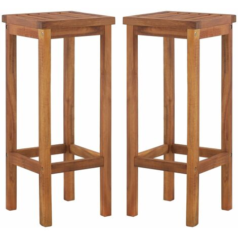 Bar Chairs 2 pcs Solid Acacia Wood