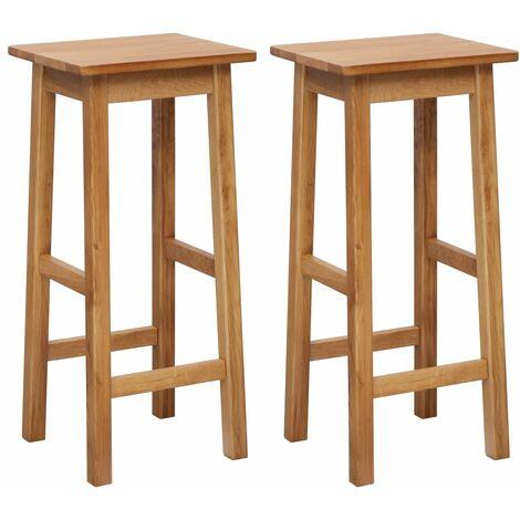 Bar Chairs 2 pcs Solid Oak Wood