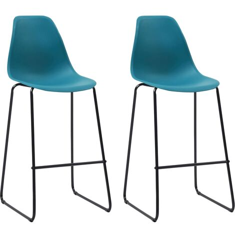 Bar Chairs 2 pcs Turquoise Plastic