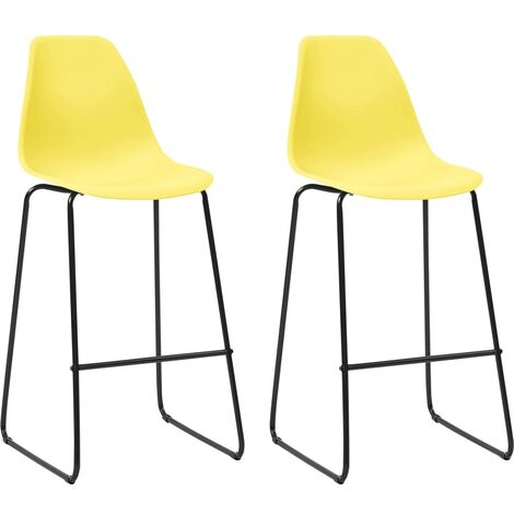 Bar Chairs 2 pcs Yellow Plastic