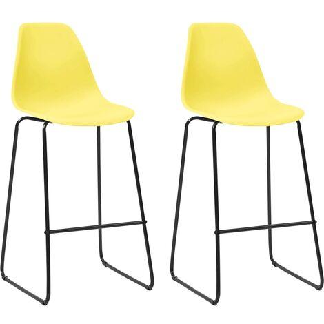 Bar Chairs 2 pcs Yellow Plastic