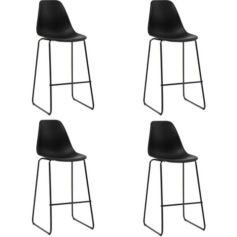 Bar Chairs 4 pcs Black Plastic