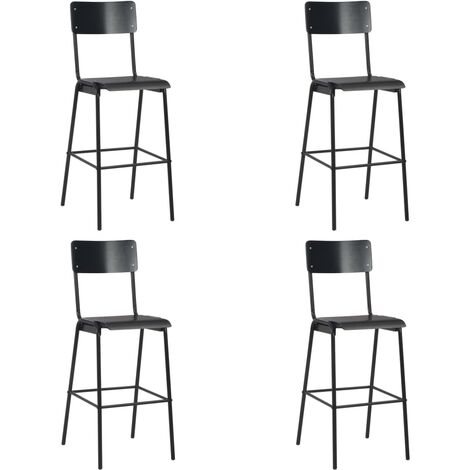 Bar Chairs 4 pcs Black Solid Plywood Steel