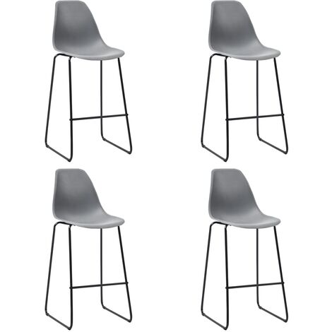 Bar Chairs 4 pcs Grey Plastic