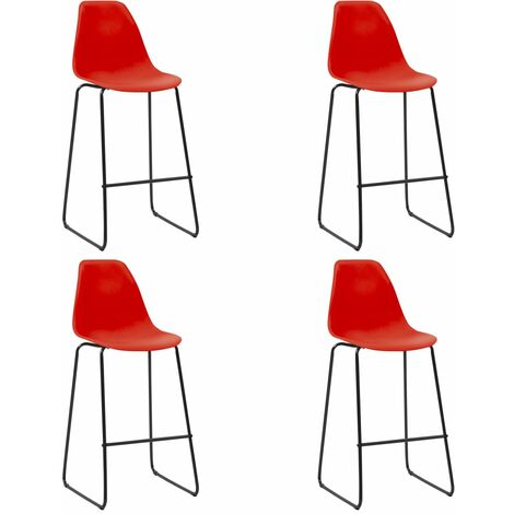 Bar Chairs 4 pcs Red Plastic