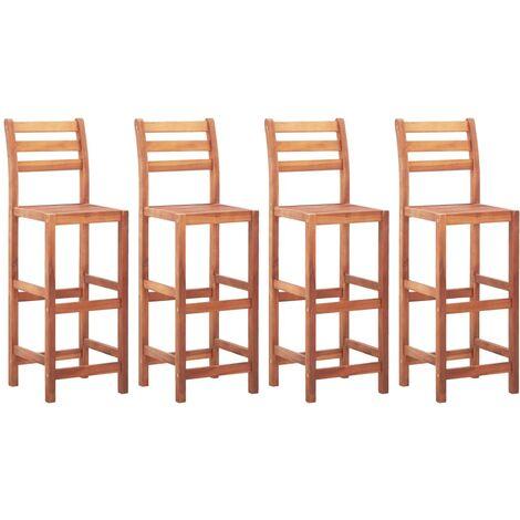 Bar Chairs 4 pcs Solid Acacia Wood - Brown