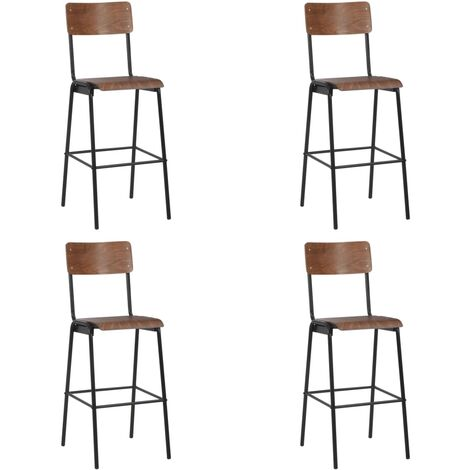Bar Chairs 4 pcs Solid Plywood Steel