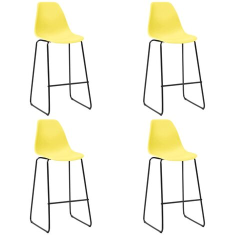 Bar Chairs 4 pcs Yellow Plastic
