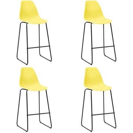 Bar Chairs 4 pcs Yellow Plastic - Yellow