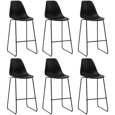 Bar Chairs 6 pcs Black Plastic