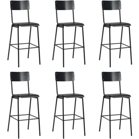 Bar Chairs 6 pcs Black Solid Plywood Steel