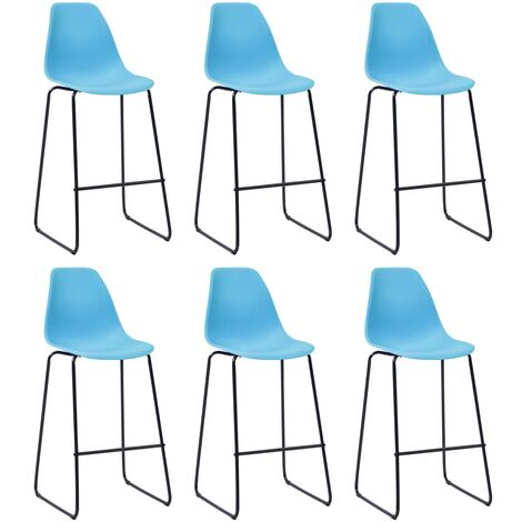 Bar Chairs 6 pcs Blue Plastic