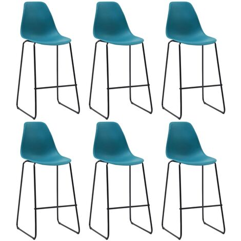 Bar Chairs 6 pcs Turquoise Plastic